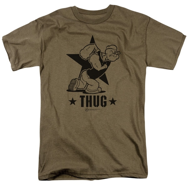 Popeye/Thug Short Sleeve Adult T-Shirt 18/1 in Safari Green