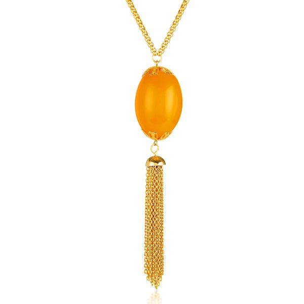 ELYA Gold Plated Faux Orange Calcite Tassel Stainless Steel 28-Inch Box Chain Necklace