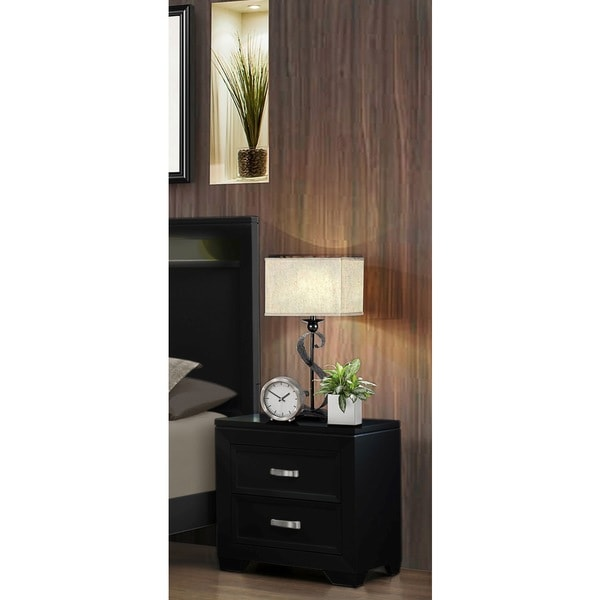 Lyke Home Black/White Wood and Veneer France Nightstand