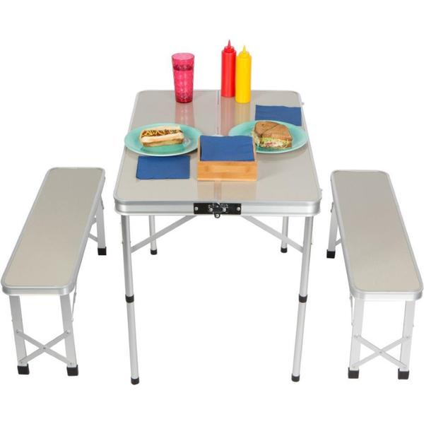 Trademark Innovations Silver Aluminum Portable Folding Picnic Table with 2 Folding Bench Seats