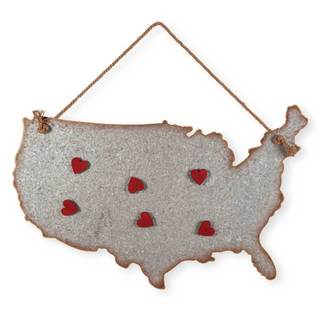 'USA' Red Silver Galvanized Metal Wall Art