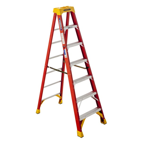Werner 6207 7' 300 Lb Limit Orange Fiberglass Step Ladder