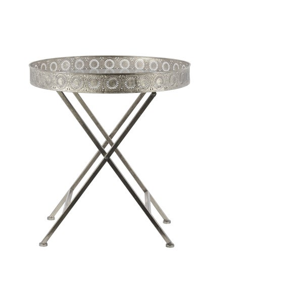 Metal Round Accent Table with Pierced Metal Frame and Crossed Legs Tarnished Finish Antique Silver