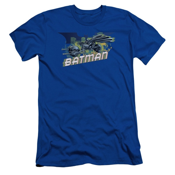 Dark Knight Rises/Wheels On Fire Short Sleeve Adult T-Shirt 30/1 in Royal