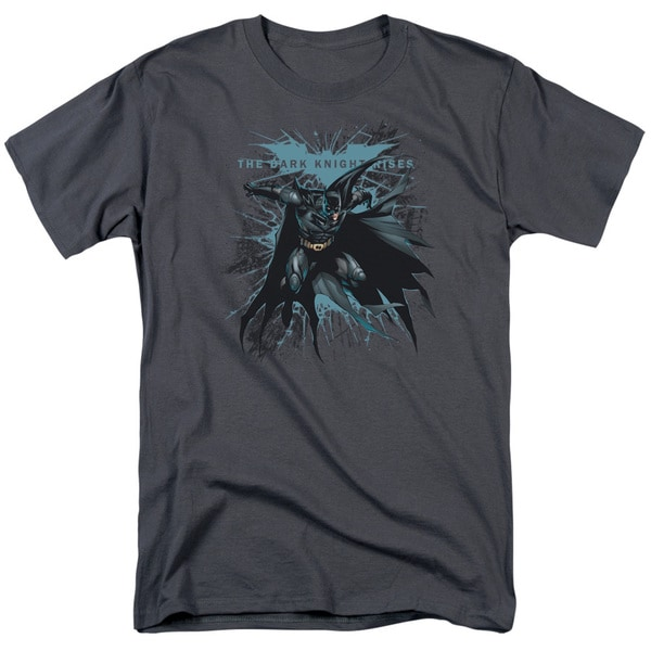 Dark Knight Rises/Blue Crackle Short Sleeve Adult T-Shirt 18/1 in Charcoal