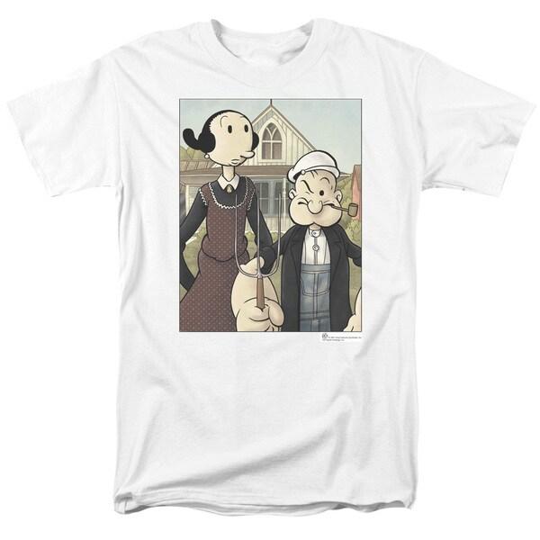 Popeye/Popeye Gothic Short Sleeve Adult T-Shirt 18/1 in White
