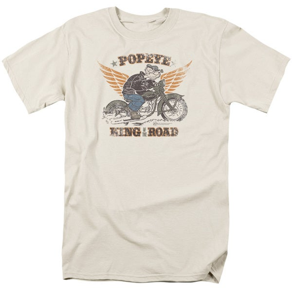 Popeye/King Of The Road Short Sleeve Adult T-Shirt 18/1 in Sand