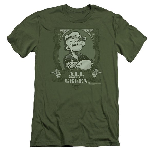 Popeye/All About The Green Short Sleeve Adult T-Shirt 30/1 in Military Green