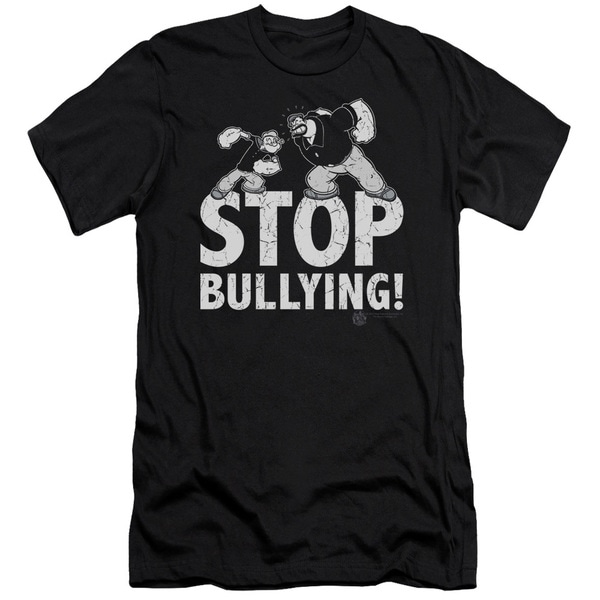 Popeye/Stop Bullying Short Sleeve Adult T-Shirt 30/1 in Black