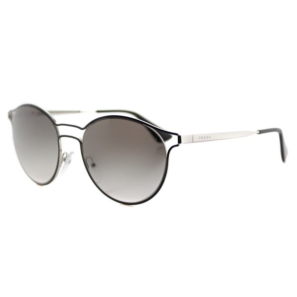 Prada PR 62SS 1AB0A7 Cinema Black Silver Metal Round Grey Gradient Lens Sunglasses