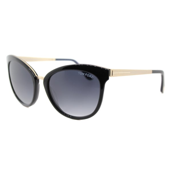 Tom Ford TF 461 05W Emma Black Gold Plastic Cat-Eye Grey Gradient Lens Sunglasses