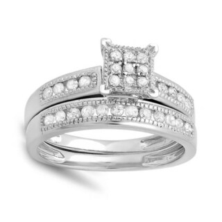 14k White Gold 1/2ct TDW Round White Diamond Bridal Ring Set (I-J, I2-I3)