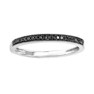 14k White Gold 1/6ct TDW Round Black Diamond Wedding Milgrain Stackable Band Ring