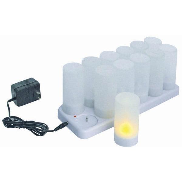 Winco 12-piece White Plastic Rechargeable Electric Votive Tealight Set 20119918