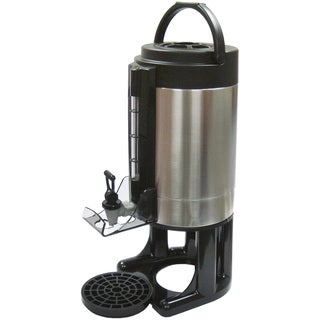 Winco Black/Silver Stainless Steel 1.5-Gallon Beverage Dispenser with Sight Glass, Removable Base and Brew-thru Lid
