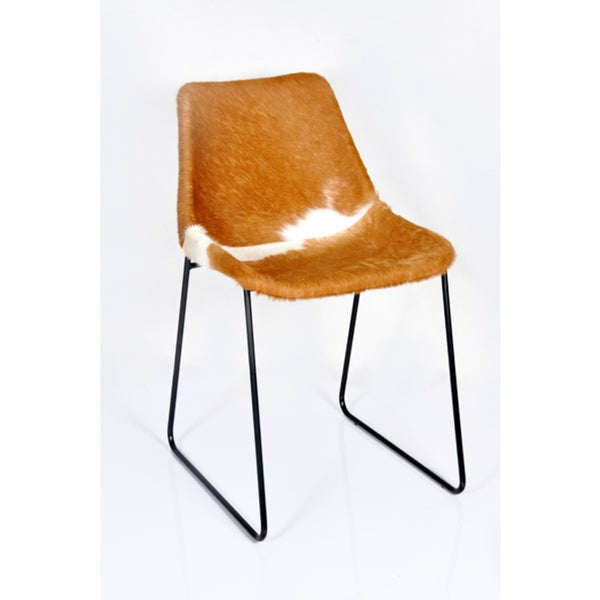 Horizon Hudson Brown/White Leather Hide/PVC/Metal Dining Chair