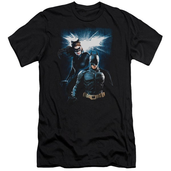 Dark Knight Rises/Bat & Cat Short Sleeve Adult T-Shirt 30/1 in Black