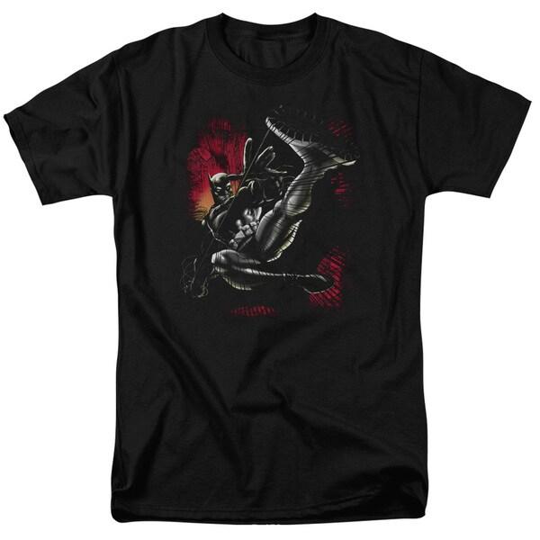 Batman/Kick Swing Short Sleeve Adult T-Shirt 18/1 in Black