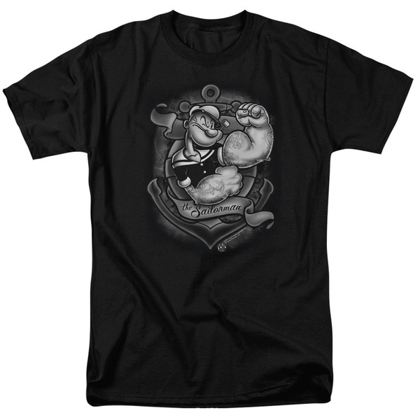 Popeye/Anchors Away Short Sleeve Adult T-Shirt 18/1 in Black