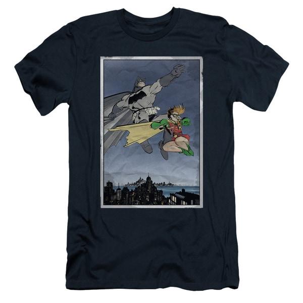 Batman/Dkr Duo Short Sleeve Adult T-Shirt 30/1 in Navy