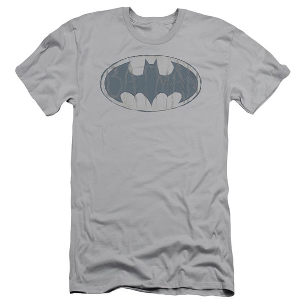 Batman/Water Sketch Signal Short Sleeve Adult T-Shirt 30/1 in Silver