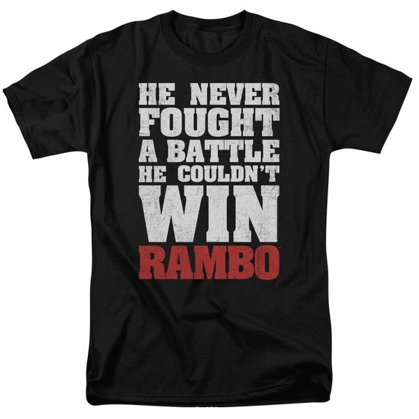 Rambo:First Blood/He Never Short Sleeve Adult T-Shirt 18/1 in Black