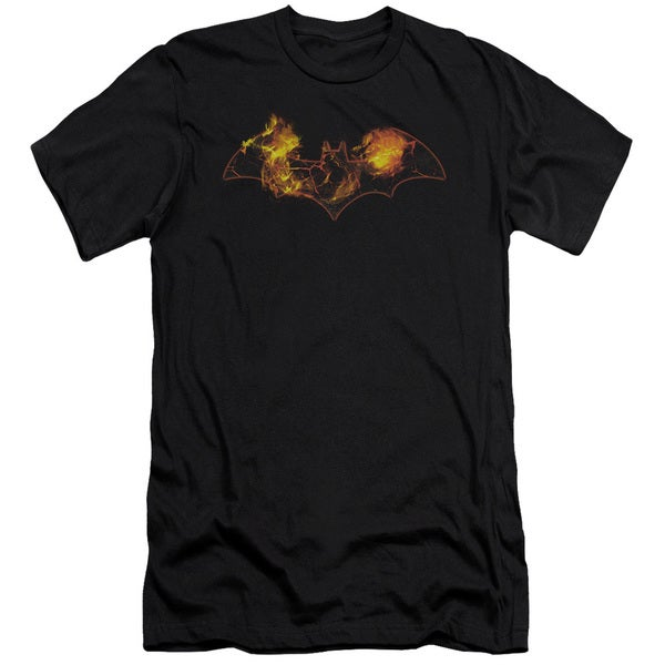 Batman/Molten Logo Short Sleeve Adult T-Shirt 30/1 in Black