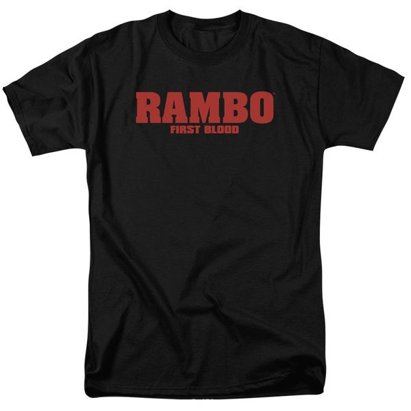 Rambo:First Blood/Logo Short Sleeve Adult T-Shirt 18/1 in Black