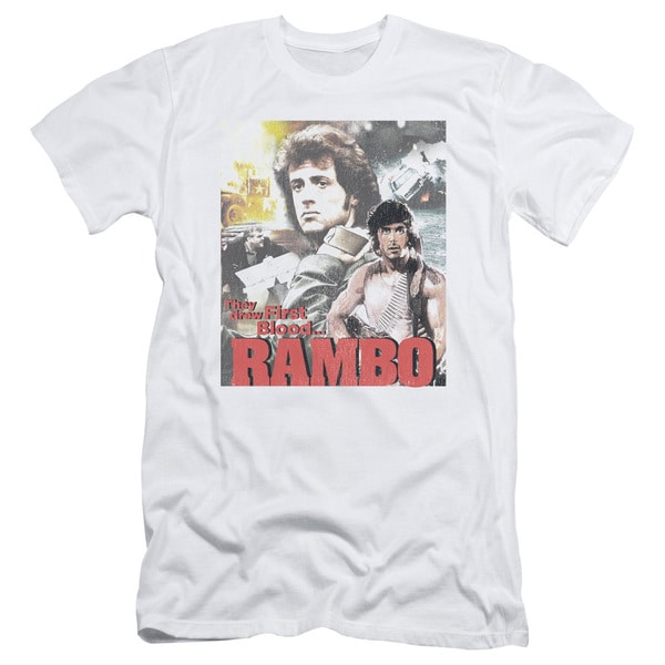 Rambo:First Blood/They Drew Collage Short Sleeve Adult T-Shirt 30/1 in White