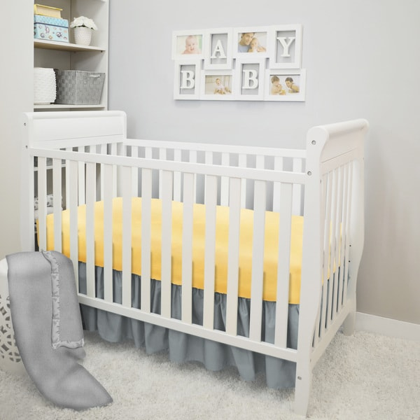 American Baby Company Sunshine Grey and Yellow 3-Piece Crib Bedding Set