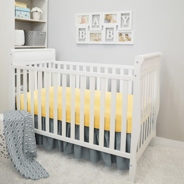 American Baby Company Sunshine Ogee Grey & Yellow 3-Piece Crib Bedding Set