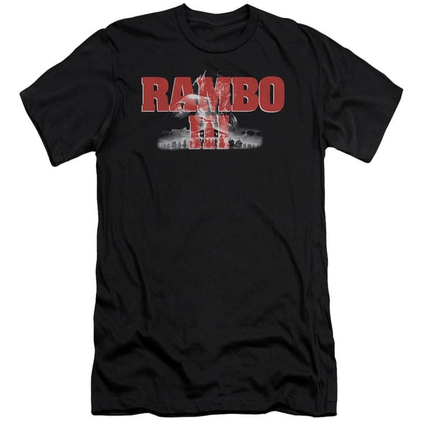 Rambo Iii/John Rambo Short Sleeve Adult T-Shirt 30/1 in Black
