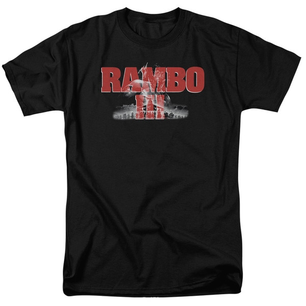 Rambo Iii/John Rambo Short Sleeve Adult T-Shirt 18/1 in Black
