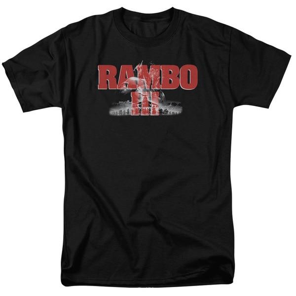Rambo Iii/John Rambo Short Sleeve Adult T-Shirt 18/1 in Black