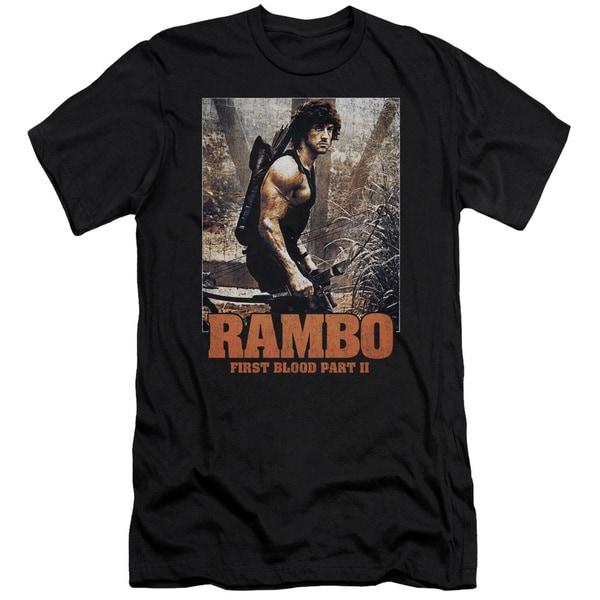 Rambo:First Blood Ii/The Hunt Short Sleeve Adult T-Shirt 30/1 in Black