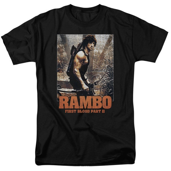 Rambo:First Blood Ii/The Hunt Short Sleeve Adult T-Shirt 18/1 in Black