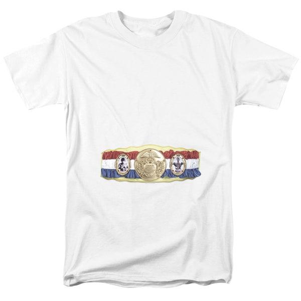 Rocky/Championship Belt(Bottom Front) Short Sleeve Adult T-Shirt 18/1 in White