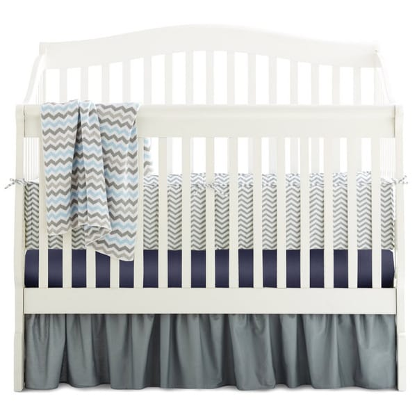 American Baby Company Chevron Grey/Navy/Blue Cotton 5-Piece Crib Bedding Set