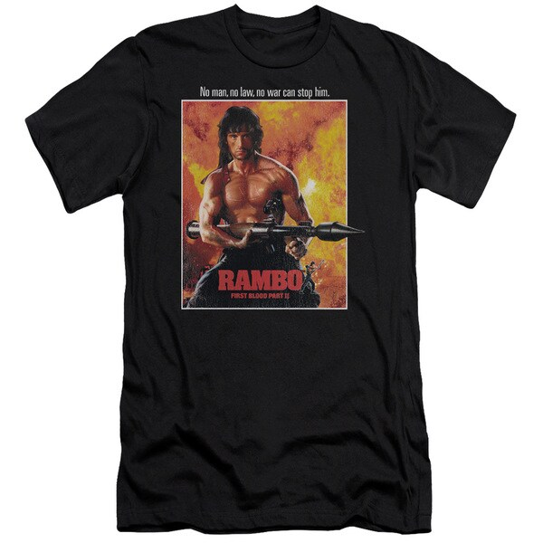 Rambo: First Blood Ii/Poster Short Sleeve Adult T-Shirt 30/1 in Black