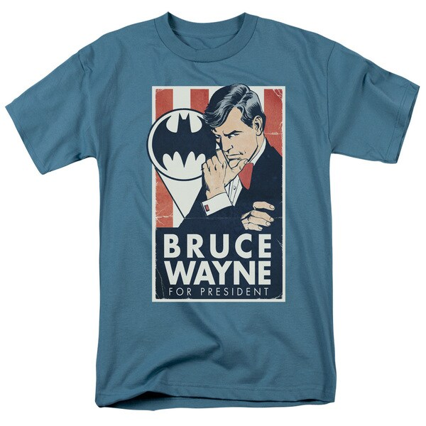 Batman/Wayne For President Short Sleeve Adult T-Shirt 18/1 in Slate