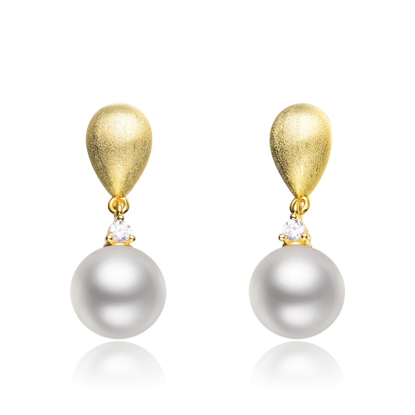 Collette Z C.Z. Sterling Silver Brushed Gold Plated Pearl Drop Earrings