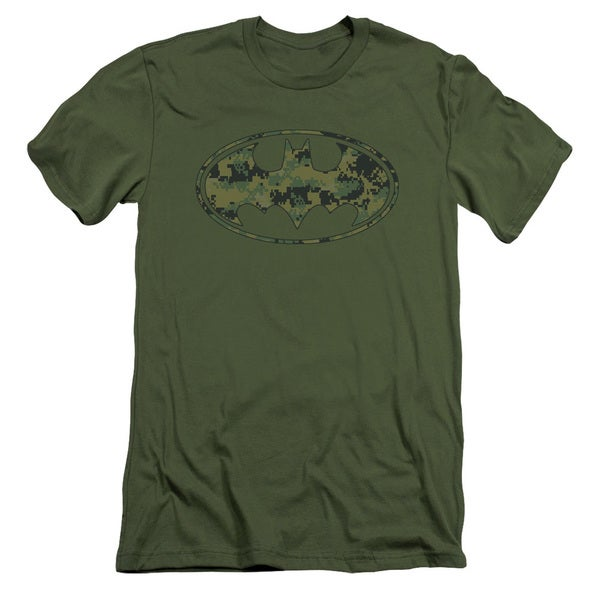 Batman/Marine Camo Shield Short Sleeve Adult T-Shirt 30/1 in Military Green