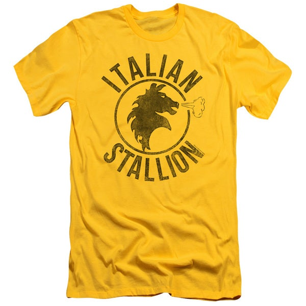 Rocky/Italian Stallion Horse Short Sleeve Adult T-Shirt 30/1 in Yellow