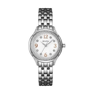 Bulova Women's 96L212 SilverTone Stainless Steel and Crystal Watch with Rose Gold Tone Highlites