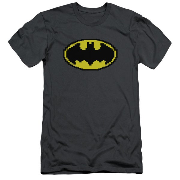 Batman/Pixel Symbol Short Sleeve Adult T-Shirt 30/1 in Charcoal