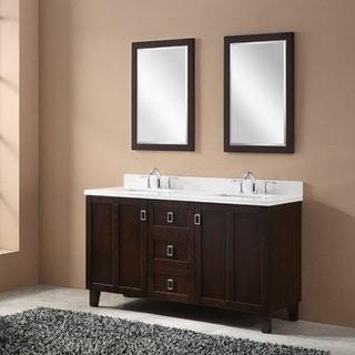 Brown Finish 60-inch Phoenix White Quartz Top Double Sink Bathroom Vanity