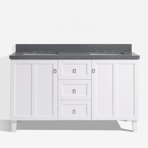 White Finish 60 Inch Grey Quartz Top Double Sink Bathroom Vanity 19253105