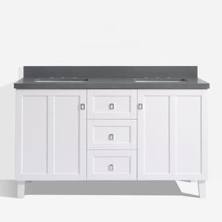 White Finish 60-inch Grey Quartz Top Double Sink Bathroom Vanity