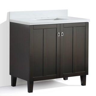 Dark Brown Finish Phoenix White Artificial Marble Top 36-inch Single Sink Bathroom Vanity