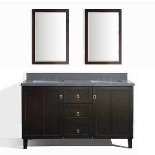 Dark Brown Finish 60-inch Grey Quartz Top Double Sink Bathroom Vanity with 2 Mirrors